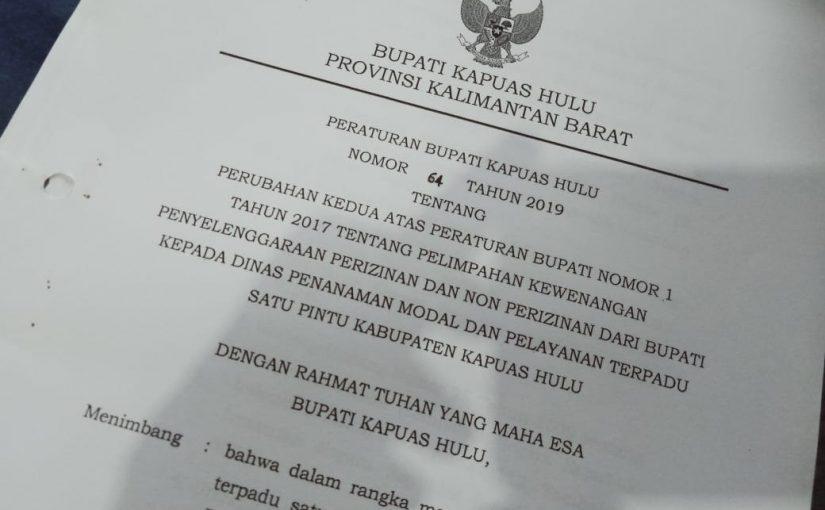 Bupati Kapuas Hulu Limpahkan 124 Perizinan ke DPMPTSP-KH